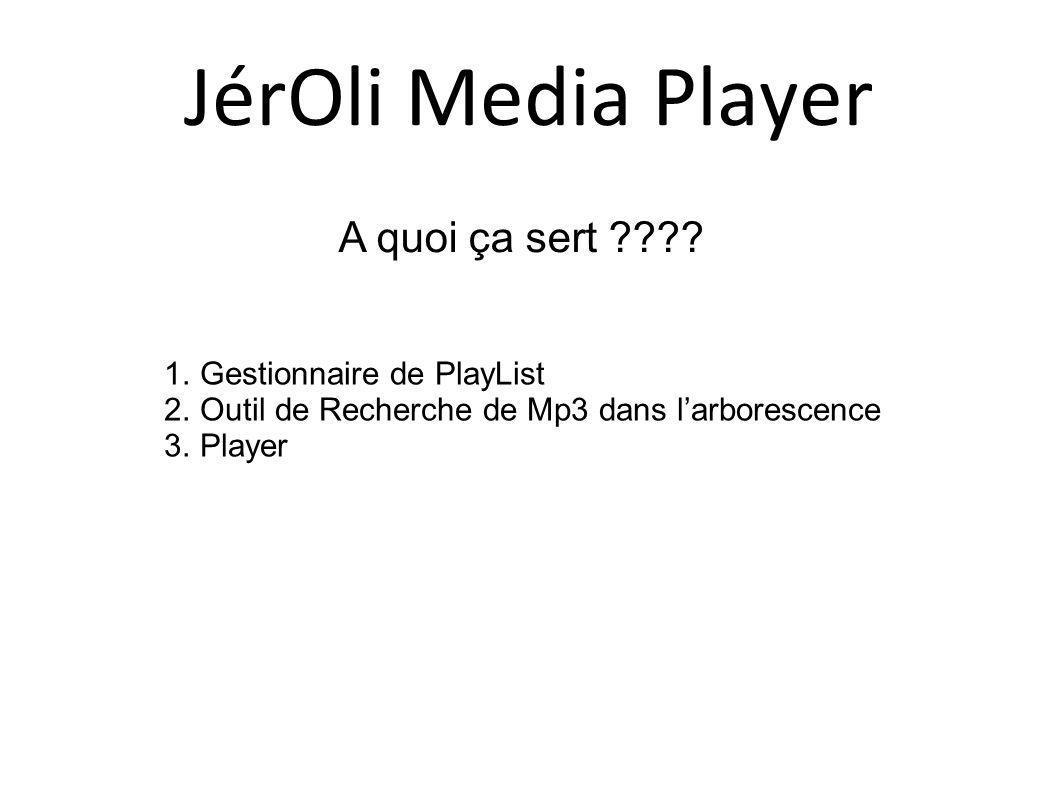 A quoi ça sert ???? 1.Gestionnaire de PlayList 2.Outil de Recherche de Mp3 dans larborescence 3.Player JérOli Media Player