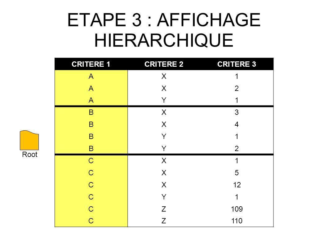 ETAPE 3 : AFFICHAGE HIERARCHIQUE CRITERE 1CRITERE 2CRITERE 3 AX1 AX2 AY1 BX3 BX4 BY1 BY2 CX1 CX5 CX12 CY1 CZ109 CZ110 Root