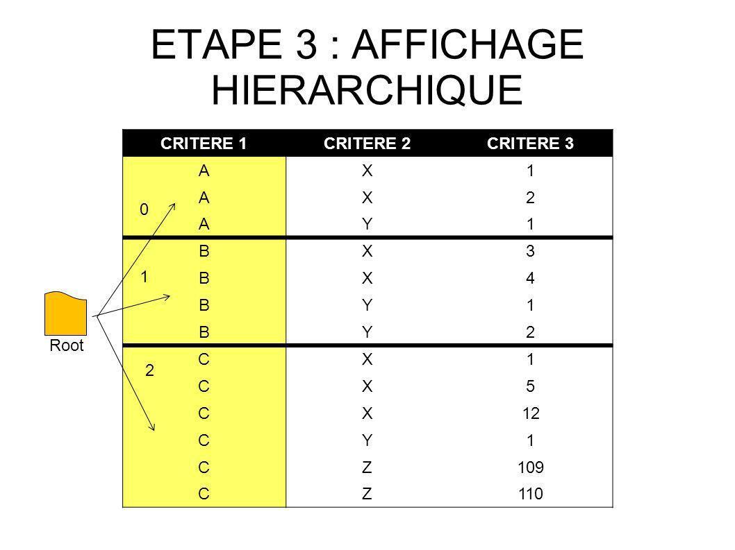 ETAPE 3 : AFFICHAGE HIERARCHIQUE CRITERE 1CRITERE 2CRITERE 3 AX1 AX2 AY1 BX3 BX4 BY1 BY2 CX1 CX5 CX12 CY1 CZ109 CZ110 Root 0 1 2