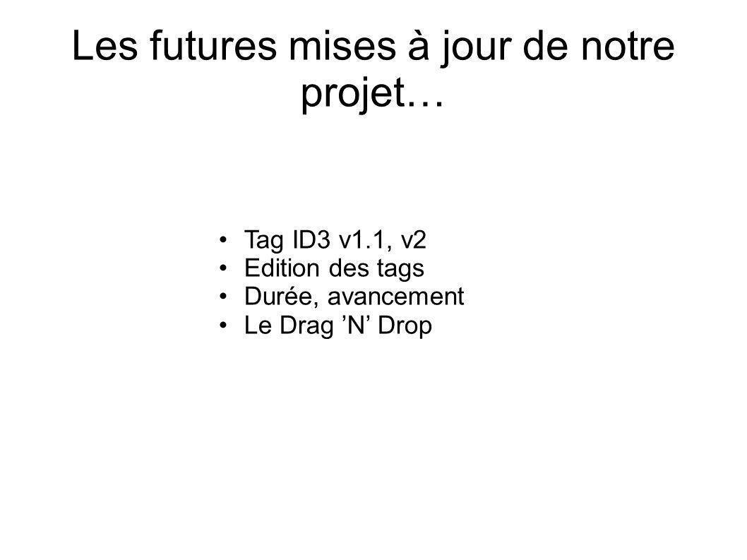 Les futures mises à jour de notre projet… Tag ID3 v1.1, v2 Edition des tags Durée, avancement Le Drag N Drop