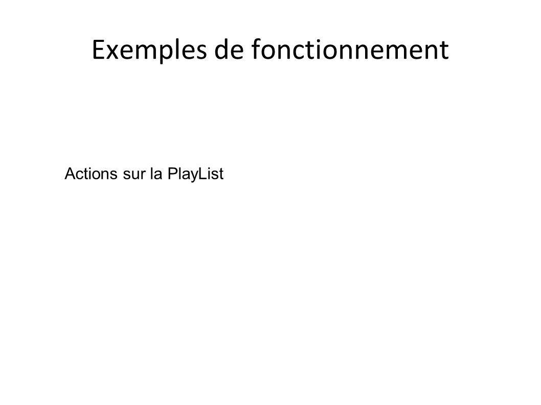 Exemples de fonctionnement Actions sur la PlayList