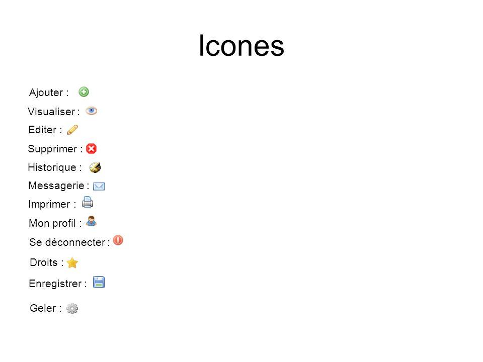 Icones Ajouter : Visualiser : Editer : Supprimer : Historique : Messagerie : Imprimer : Mon profil : Se déconnecter : Droits : Enregistrer : Geler :