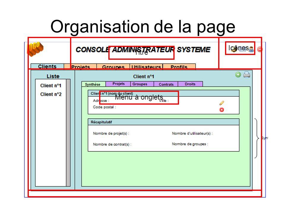Organisation de la page Titre Icônes Menu à onglets