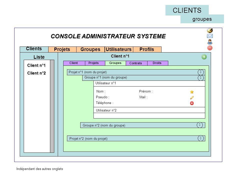 Projets Clients Liste Groupes Contrats Groupes Client n°1 Projets Client n°2 Droits CONSOLE ADMINISTRATEUR SYSTEME Client CLIENTS groupes Téléphone : Pseudo : Utilisateur n°1 Groupe n°2 (nom du groupe) Prénom : Mail : << Nom : Utilisateur n°2 Client n°1 << Groupe n°1 (nom du groupe) Projet n°1 (nom du projet) Projet n°2 (nom du projet) << UtilisateursProfils Indépendant des autres onglets
