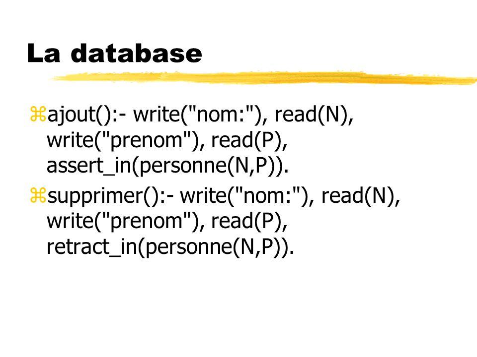 La database zajout():- write(