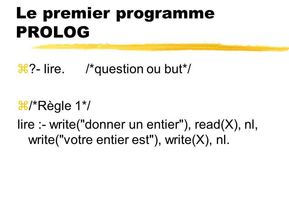 Le premier programme PROLOG z?- lire. /*question ou but*/ z/*Règle 1*/ lire :- write(