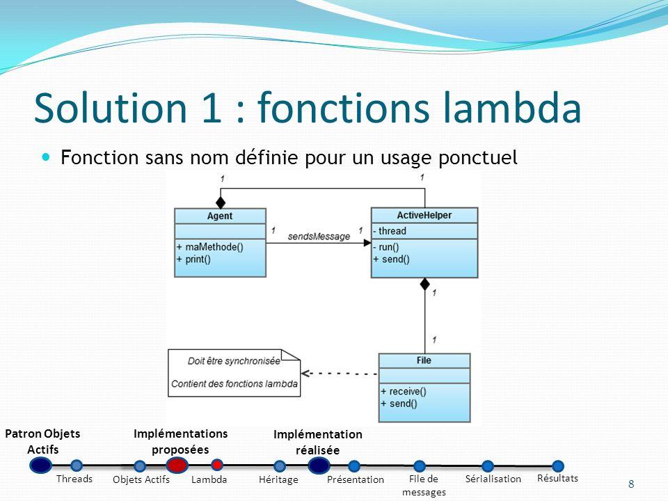 Solution 1 : fonctions lambda Fonction sans nom définie pour un usage ponctuel 8 Patron Objets Actifs Implémentations proposées Implémentation réalisé