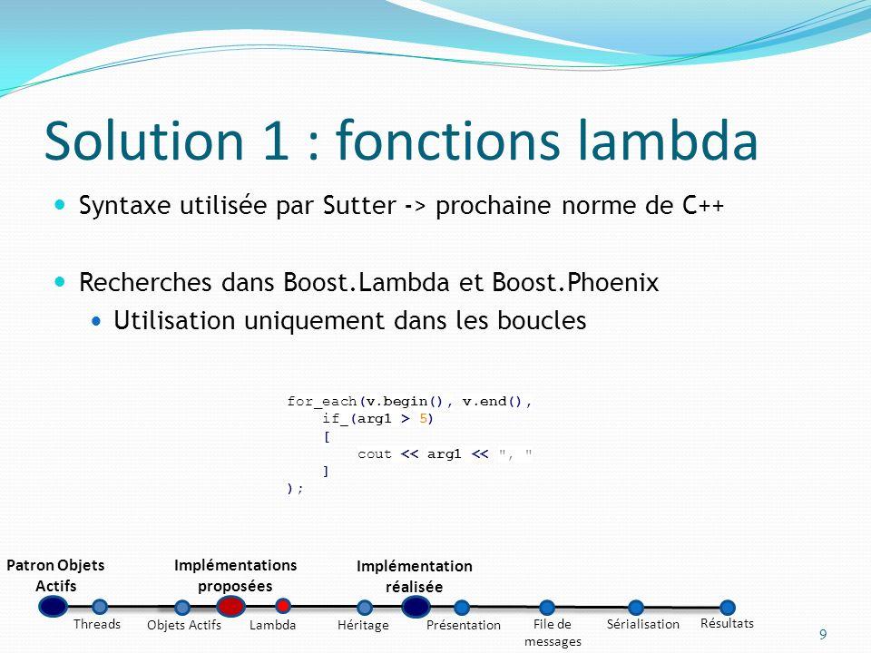 Solution 1 : fonctions lambda Syntaxe utilisée par Sutter -> prochaine norme de C++ Recherches dans Boost.Lambda et Boost.Phoenix Utilisation uniqueme