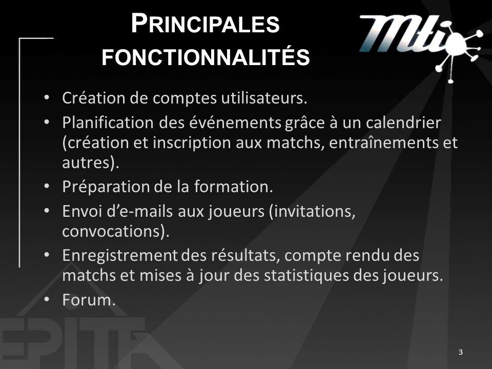 P RINCIPALES FONCTIONNALITÉS Création de comptes utilisateurs. Planification des événements grâce à un calendrier (création et inscription aux matchs,