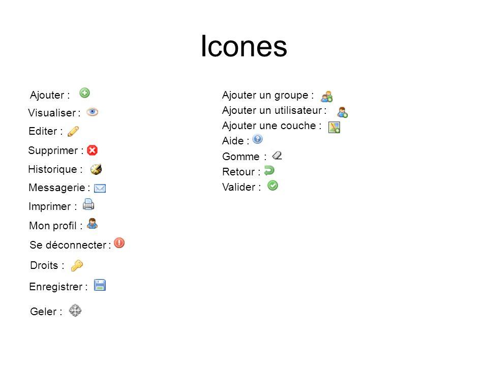 Icones Ajouter : Visualiser : Editer : Supprimer : Historique : Messagerie : Imprimer : Mon profil : Se déconnecter : Droits : Enregistrer : Geler : A