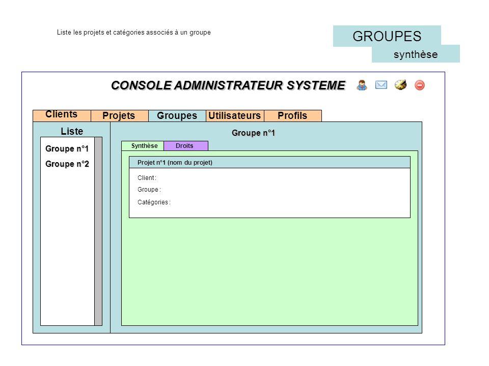 CONSOLE ADMINISTRATEUR SYSTEME Projets Clients Liste Synthèse Projet n°1 (nom du projet) Groupes Groupe n°1 Groupe n°2 CONSOLE ADMINISTRATEUR SYSTEME