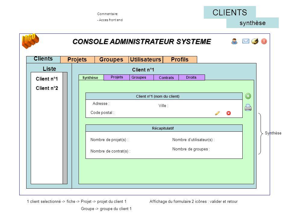 CONSOLE ADMINISTRATEUR SYSTEME Projets Clients Liste Synthèse Client n°1 (nom du client) Commentaire: - Acces front end Groupes Contrats Groupes Clien