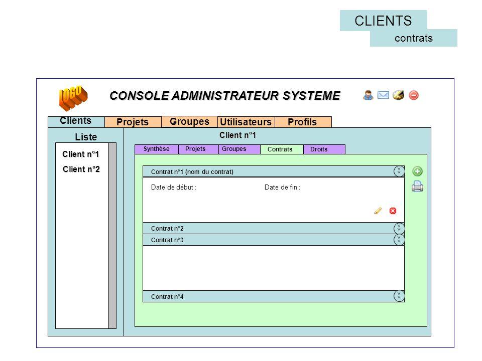 Projets Clients Liste << Contrat n°1 (nom du contrat) Contrat n°2 Contrat n°3 Contrat n°4 Groupes Contrats Groupes Client n°1 Projets Client n°2 Droit