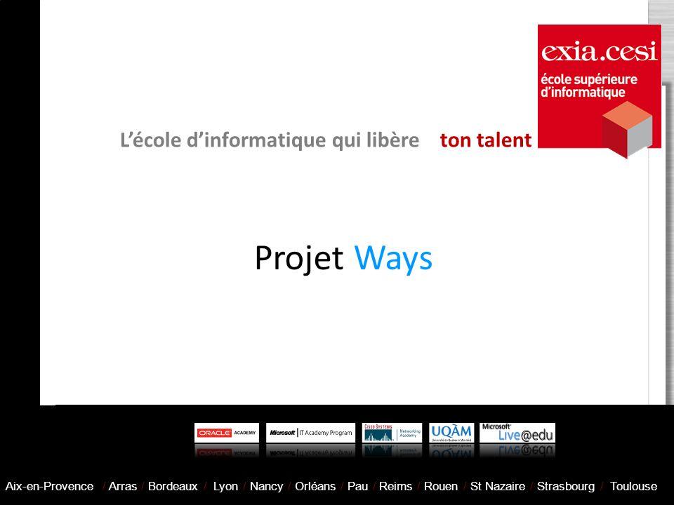 Projet Ways Lécole dinformatique qui libère ton talent Aix-en-Provence / Arras / Bordeaux / Lyon / Nancy / Orléans / Pau / Reims / Rouen / St Nazaire