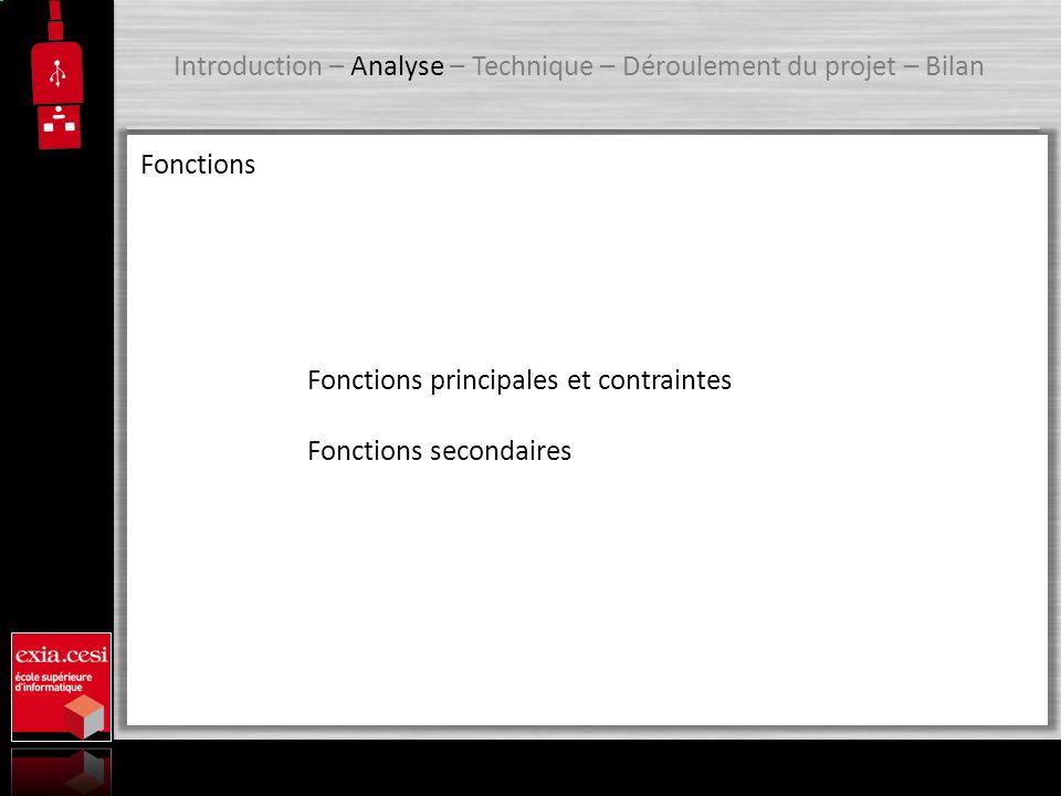 Introduction – Analyse – Technique – Déroulement du projet – Bilan Conception UML Diagramme de cas dutilisation