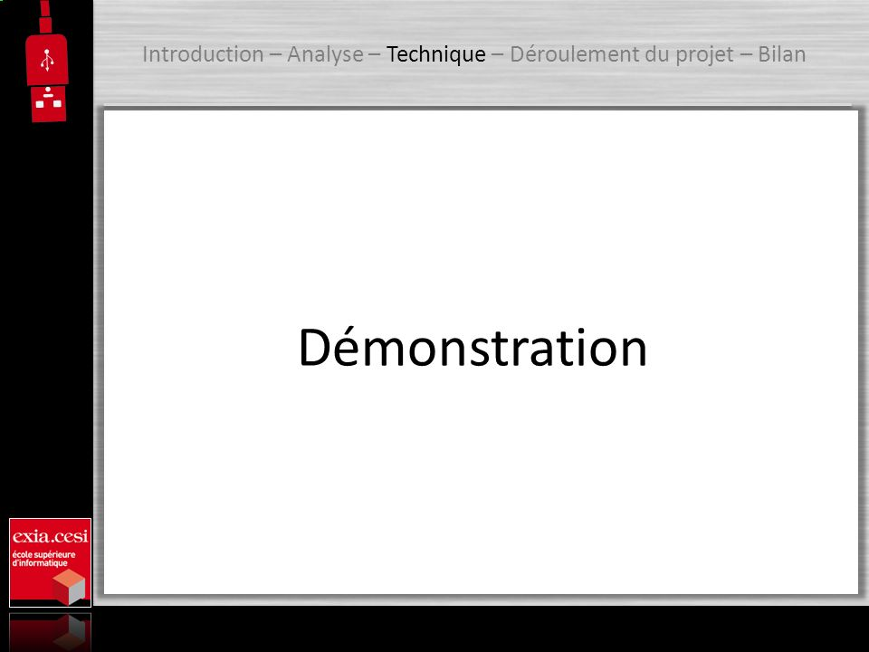 Introduction – Analyse – Technique – Déroulement du projet – Bilan Démonstration