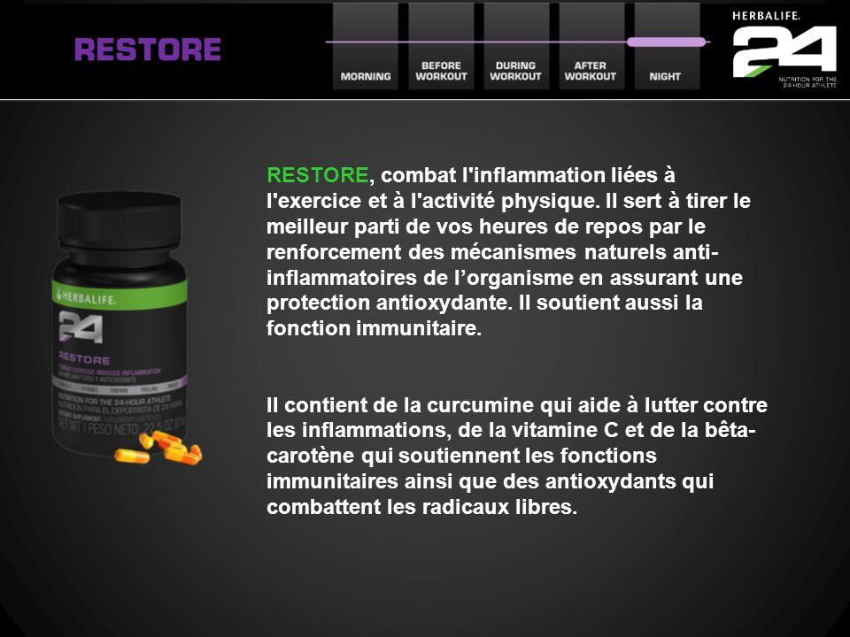 RESTORE, combat l'inflammation liées à l'exercice et à l'activité physique. Il sert à tirer le meilleur parti de vos heures de repos par le renforceme