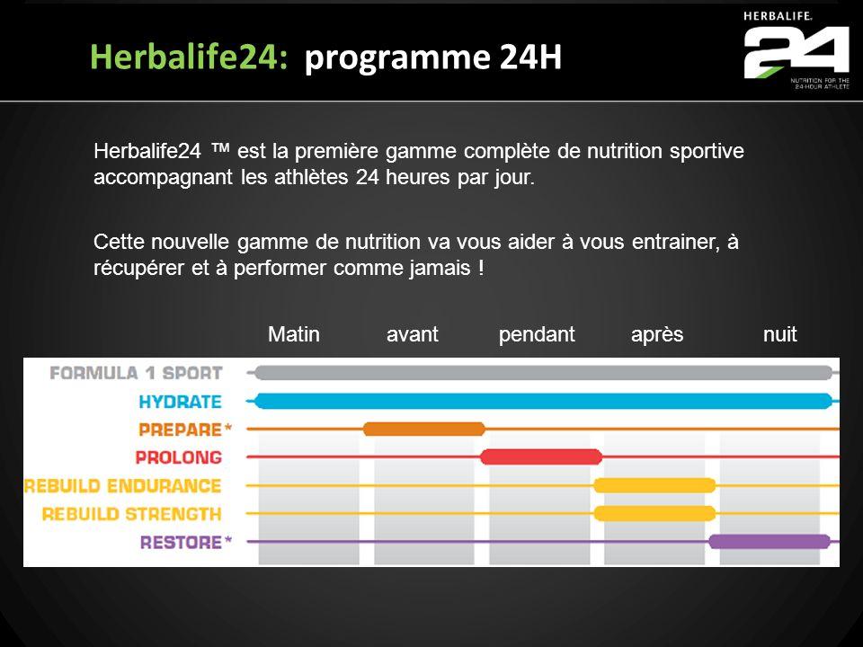 Herbalife24: programme 24H Herbalife24 est la première gamme complète de nutrition sportive accompagnant les athlètes 24 heures par jour. Cette nouvel