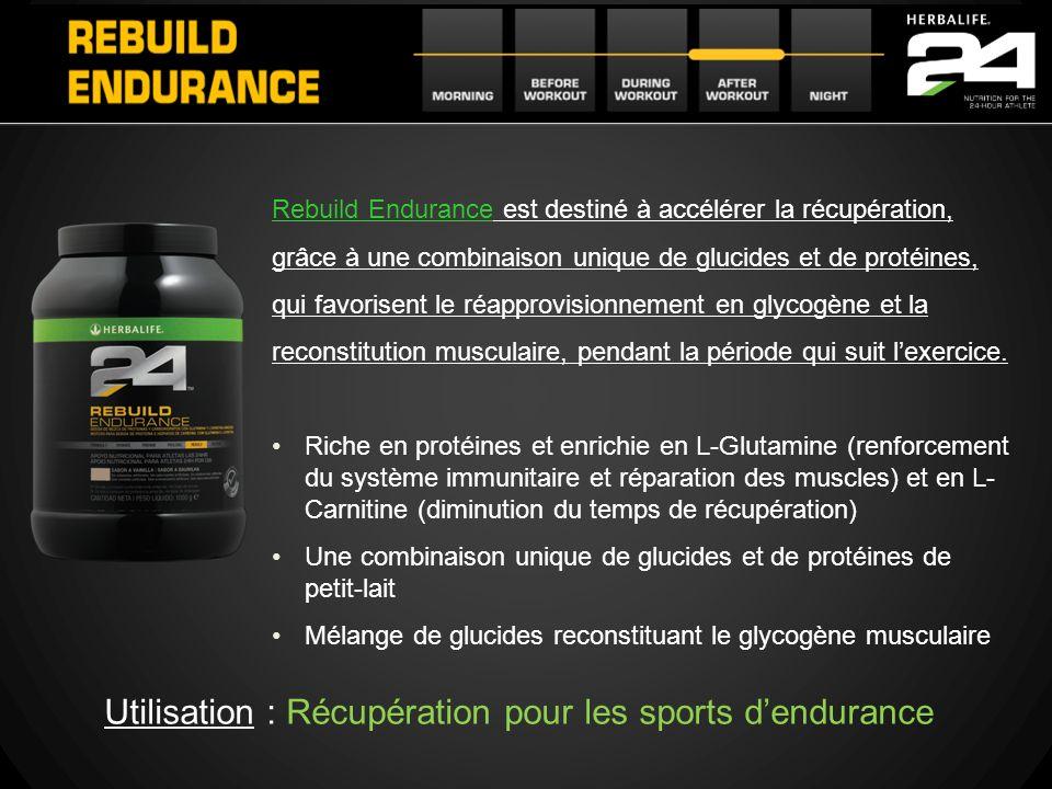 Rebuild Endurance est destiné à accélérer la récupération, grâce à une combinaison unique de glucides et de protéines, qui favorisent le réapprovision
