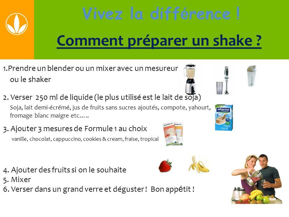 Vivez la diff é rence ! Comment préparer un shake ? 1.Prendre un blender ou un mixer avec un mesureur ou le shaker 2. Verser 250 ml de liquide (le plu