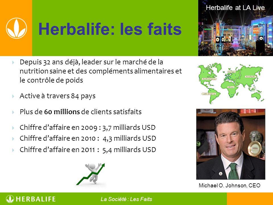 Herbalife: les faits Herbalife at LA Live Michael O. Johnson, CEO Depuis 32 ans déjà, leader sur le marché de la nutrition saine et des compléments al