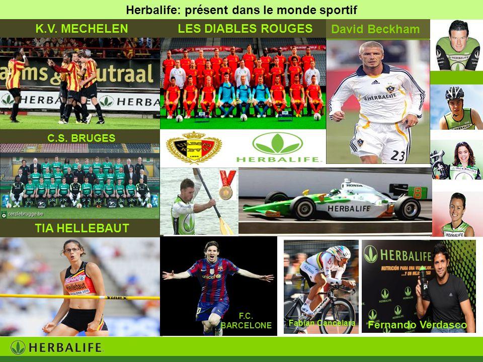 Herbalife: présent dans le monde sportif C.S. BRUGES Fabian Cancelara TIA HELLEBAUT Fernando Verdasco K.V. MECHELENLES DIABLES ROUGES David Beckham F.