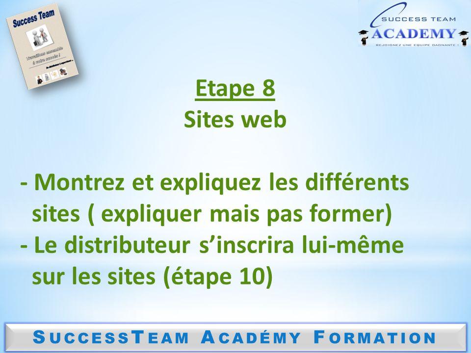 S UCCESS T EAM A CADÉMY F ORMATION Etape 8 Sites web - Montrez et expliquez les différents sites ( expliquer mais pas former) - Le distributeur sinscrira lui-même sur les sites (étape 10)