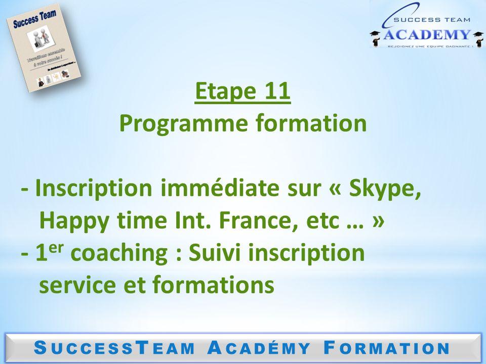 S UCCESS T EAM A CADÉMY F ORMATION Etape 11 Programme formation - Inscription immédiate sur « Skype, Happy time Int. France, etc … » - 1 er coaching :