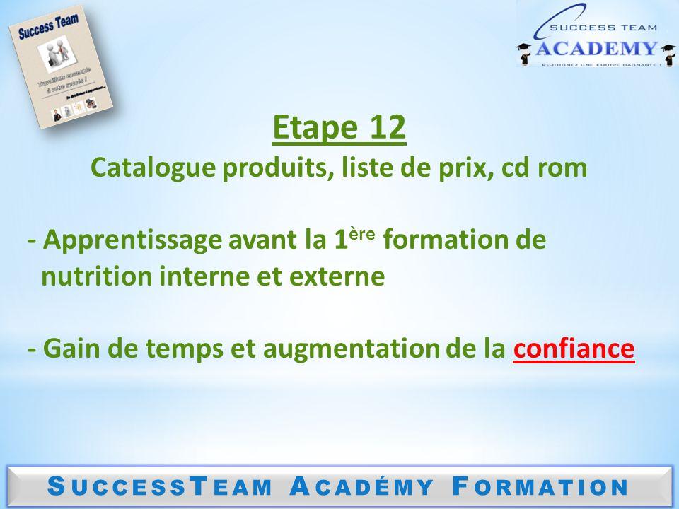 S UCCESS T EAM A CADÉMY F ORMATION Etape 12 Catalogue produits, liste de prix, cd rom - Apprentissage avant la 1 ère formation de nutrition interne et