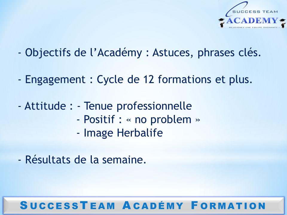 - Objectifs de lAcadémy : Astuces, phrases clés. - Engagement : Cycle de 12 formations et plus. - Attitude : - Tenue professionnelle - Positif : « no