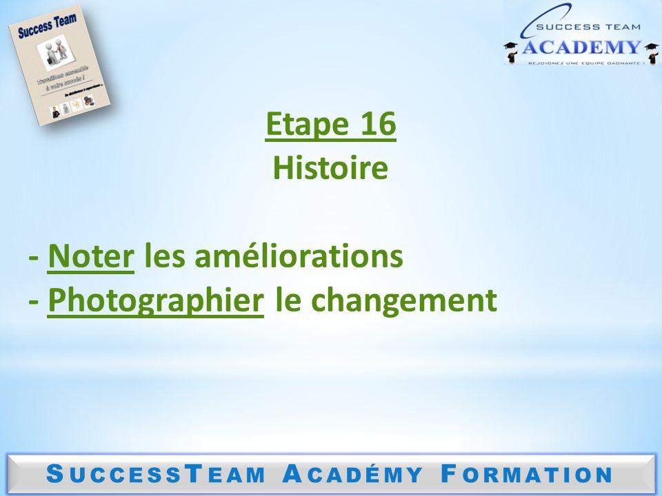 S UCCESS T EAM A CADÉMY F ORMATION Etape 16 Histoire - Noter les améliorations - Photographier le changement