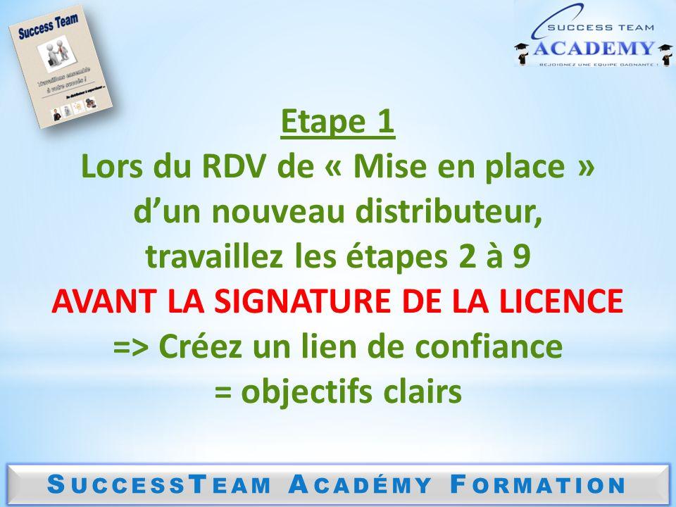 S UCCESS T EAM A CADÉMY F ORMATION Etape 1 Lors du RDV de « Mise en place » dun nouveau distributeur, travaillez les étapes 2 à 9 AVANT LA SIGNATURE D