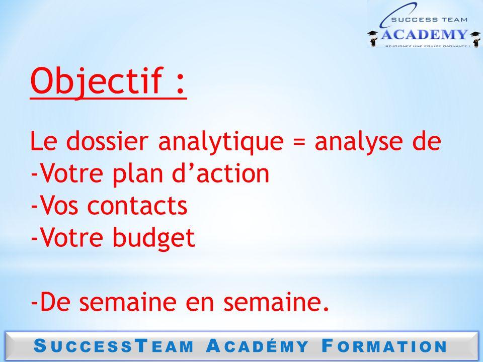 Objectif : Le dossier analytique = analyse de -Votre plan daction -Vos contacts -Votre budget -De semaine en semaine.