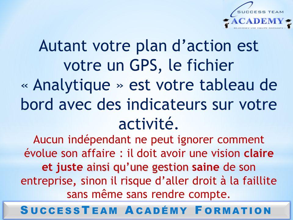S UCCESS T EAM A CADÉMY F ORMATION Autant votre plan daction est votre un GPS, le fichier « Analytique » est votre tableau de bord avec des indicateur