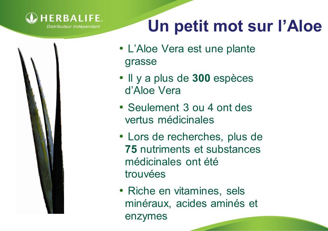 HOM, Septembre 2009 Un petit mot sur lAloe LAloe Vera est une plante grasse Il y a plus de 300 espèces dAloe Vera Seulement 3 ou 4 ont des vertus médicinales Lors de recherches, plus de 75 nutriments et substances médicinales ont été trouvées Riche en vitamines, sels minéraux, acides aminés et enzymes