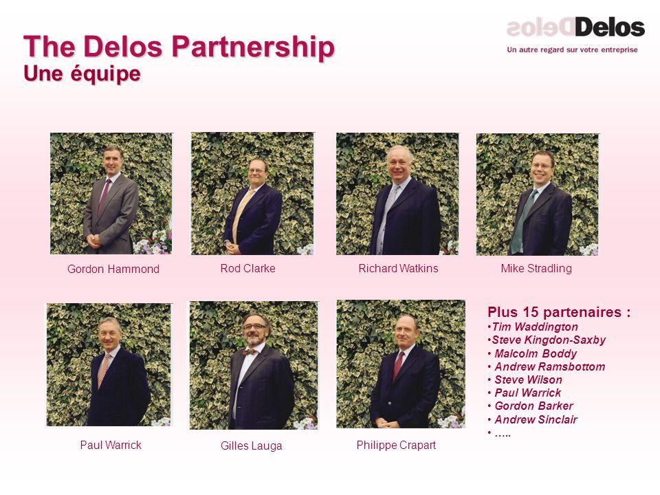 The Delos Partnership Une équipe Plus 15 partenaires : Tim Waddington Steve Kingdon-Saxby Malcolm Boddy Andrew Ramsbottom Steve Wilson Paul Warrick Gordon Barker Andrew Sinclair …..