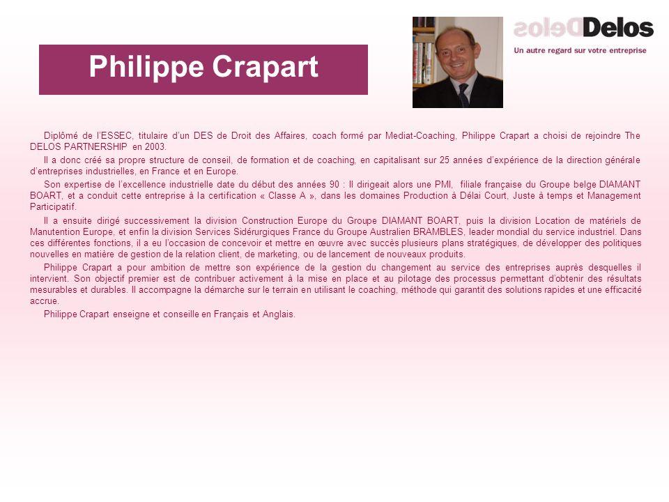 Diplômé de lESSEC, titulaire dun DES de Droit des Affaires, coach formé par Mediat-Coaching, Philippe Crapart a choisi de rejoindre The DELOS PARTNERSHIP en 2003.