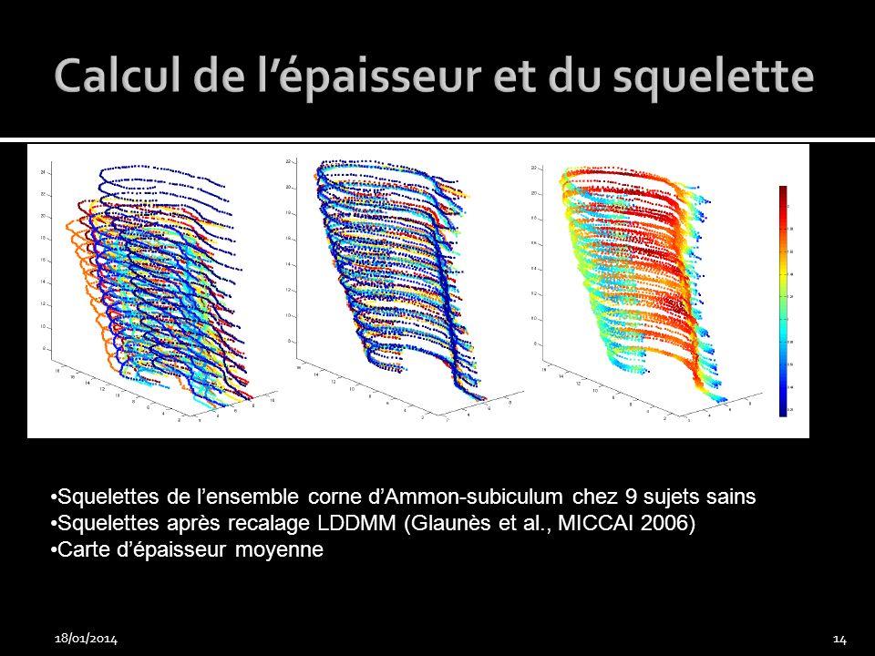 18/01/201414 Squelettes de lensemble corne dAmmon-subiculum chez 9 sujets sains Squelettes après recalage LDDMM (Glaunès et al., MICCAI 2006) Carte dé