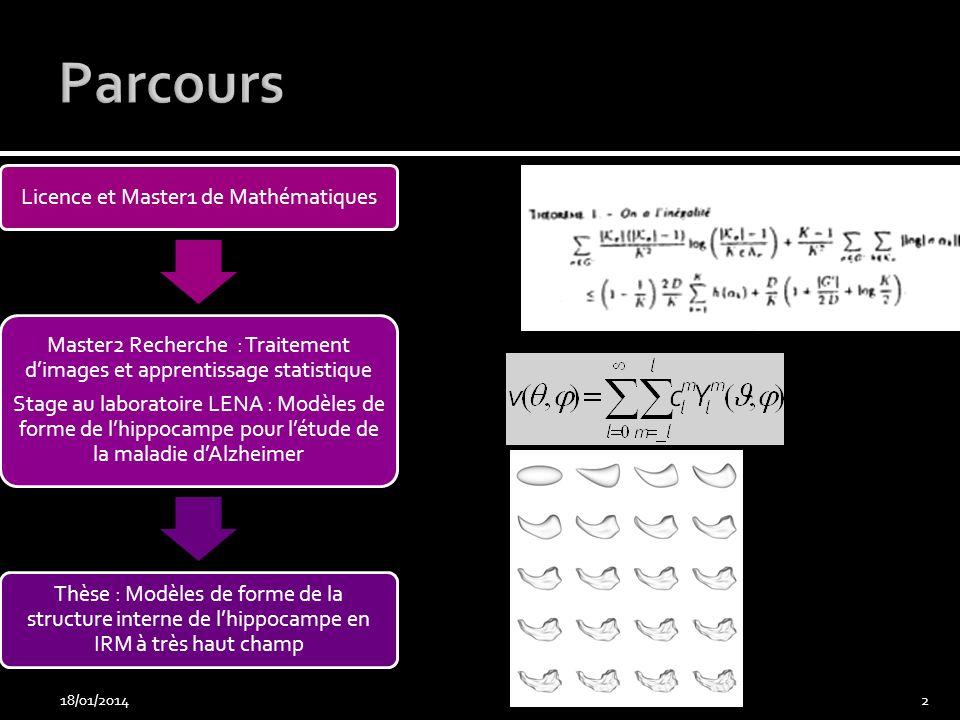 18/01/201413 Calcul dun champ de vecteur transverse Carte dépaisseur Carte de distance au centre Extraction du squelette