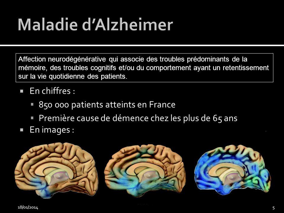En chiffres : 850 000 patients atteints en France Première cause de démence chez les plus de 65 ans En images : 18/01/20145 Affection neurodégénérativ