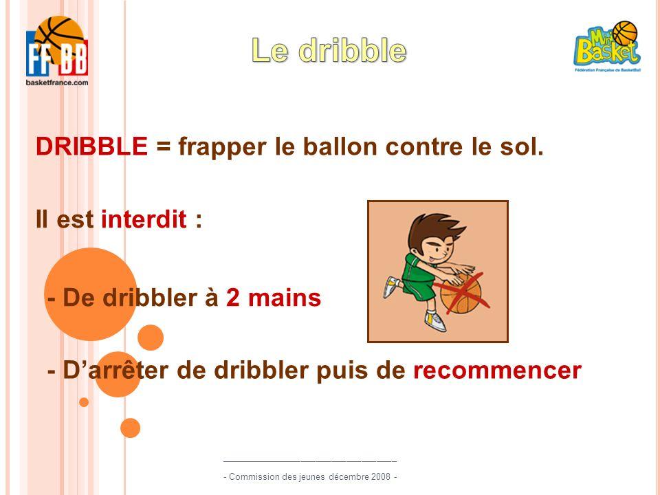 Il est interdit : - De dribbler à 2 mains - Darrêter de dribbler puis de recommencer DRIBBLE = frapper le ballon contre le sol. ______________________