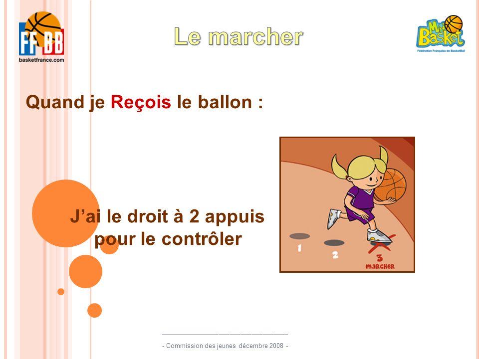 Quand je Reçois le ballon : Jai le droit à 2 appuis pour le contrôler ___________________________________ - Commission des jeunes décembre 2008 -