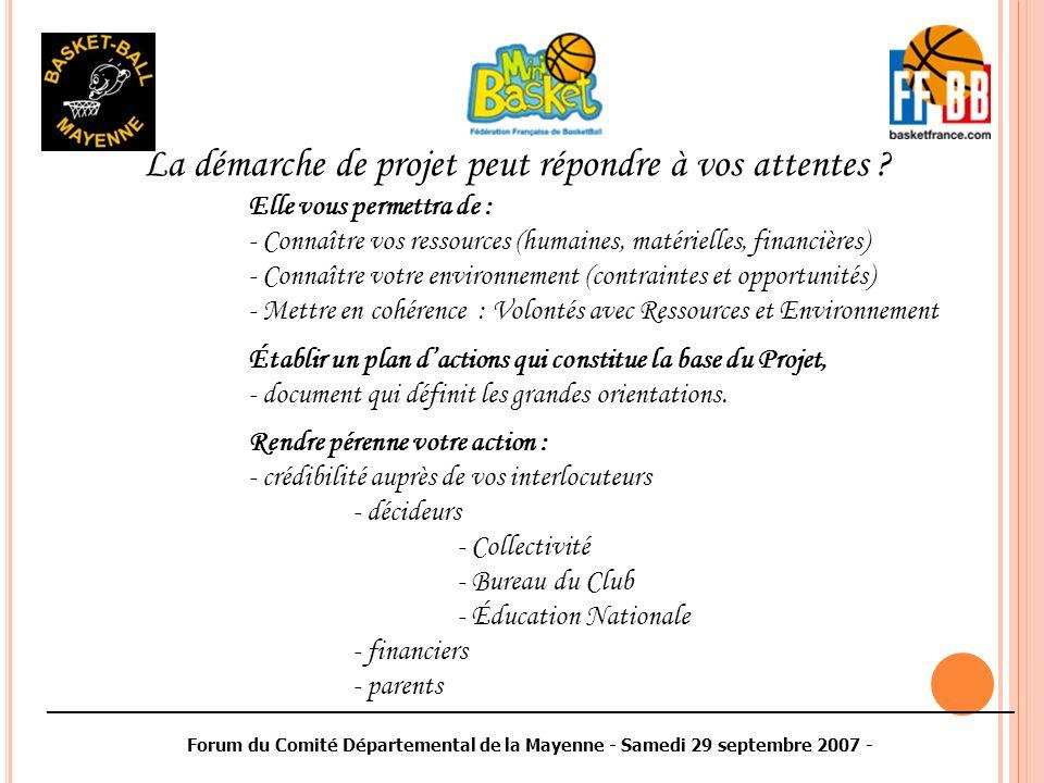 ________________________________________________________________________________________ Forum du Comité Départemental de la Mayenne - Samedi 29 septembre 2007 - La démarche de projet peut répondre à vos attentes .