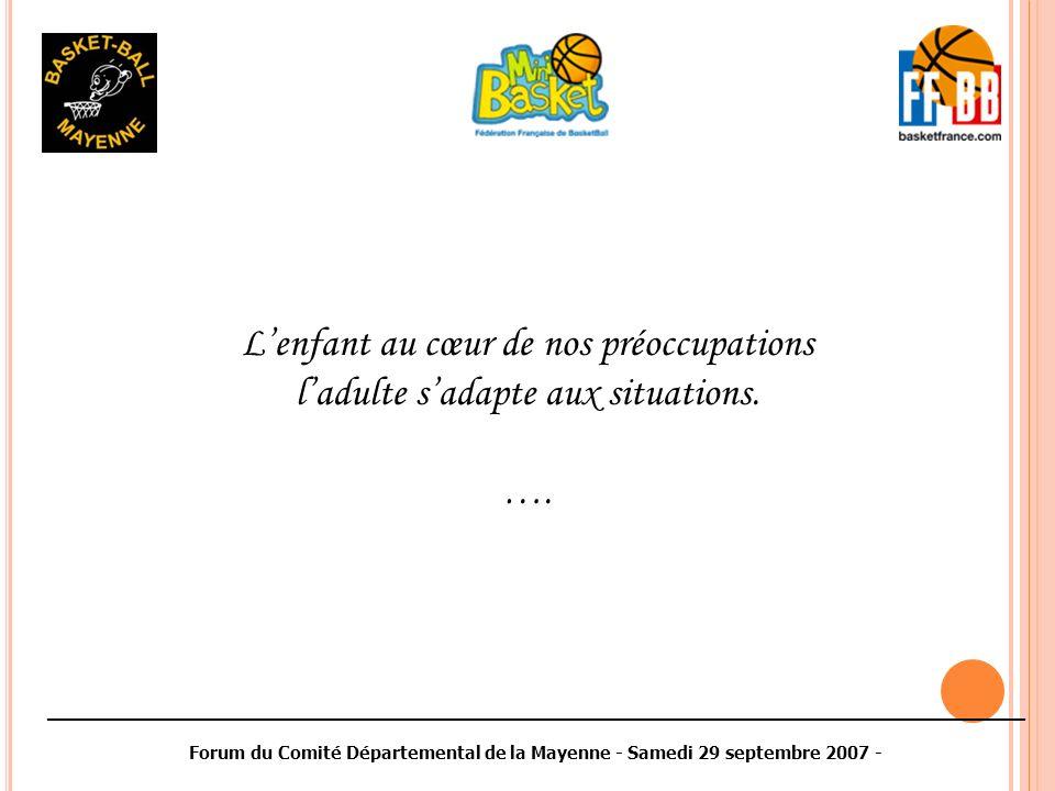________________________________________________________________________________________ Forum du Comité Départemental de la Mayenne - Samedi 29 septembre 2007 - Lenfant au cœur de nos préoccupations ladulte sadapte aux situations.