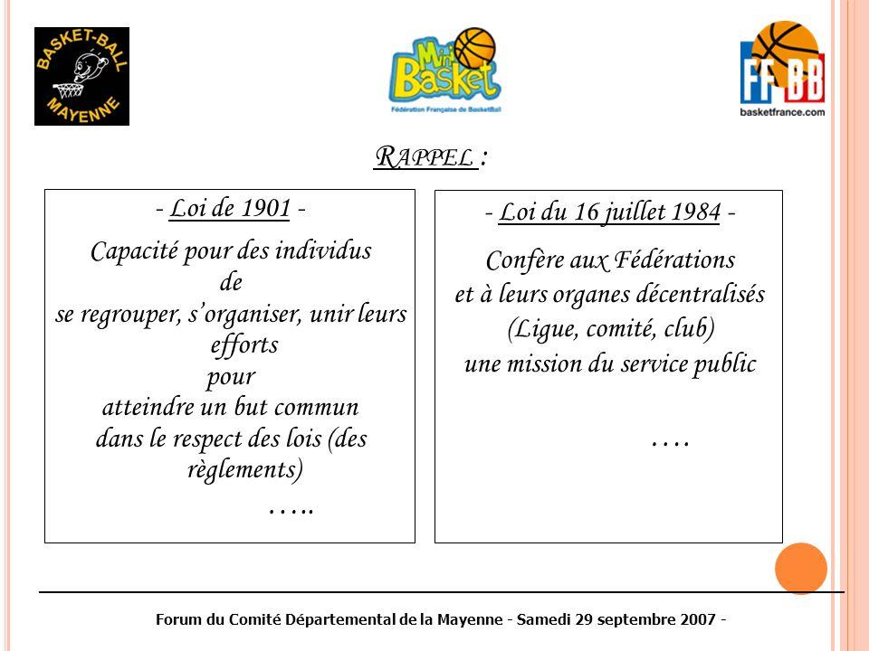 ________________________________________________________________________________________ Forum du Comité Départemental de la Mayenne - Samedi 29 septembre 2007 - MERCI de votre attention ….