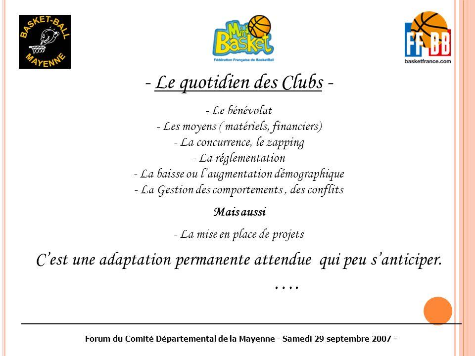 ________________________________________________________________________________________ Forum du Comité Départemental de la Mayenne - Samedi 29 septembre 2007 - - Le quotidien des Clubs - - Le bénévolat - Les moyens ( matériels, financiers) - La concurrence, le zapping - La réglementation - La baisse ou laugmentation démographique - La Gestion des comportements, des conflits Mais aussi - La mise en place de projets Cest une adaptation permanente attendue qui peu santiciper.