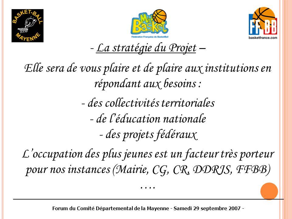 ________________________________________________________________________________________ Forum du Comité Départemental de la Mayenne - Samedi 29 septembre 2007 - - La stratégie du Projet – Elle sera de vous plaire et de plaire aux institutions en répondant aux besoins : - des collectivités territoriales - de léducation nationale - des projets fédéraux Loccupation des plus jeunes est un facteur très porteur pour nos instances (Mairie, CG, CR, DDRJS, FFBB) ….