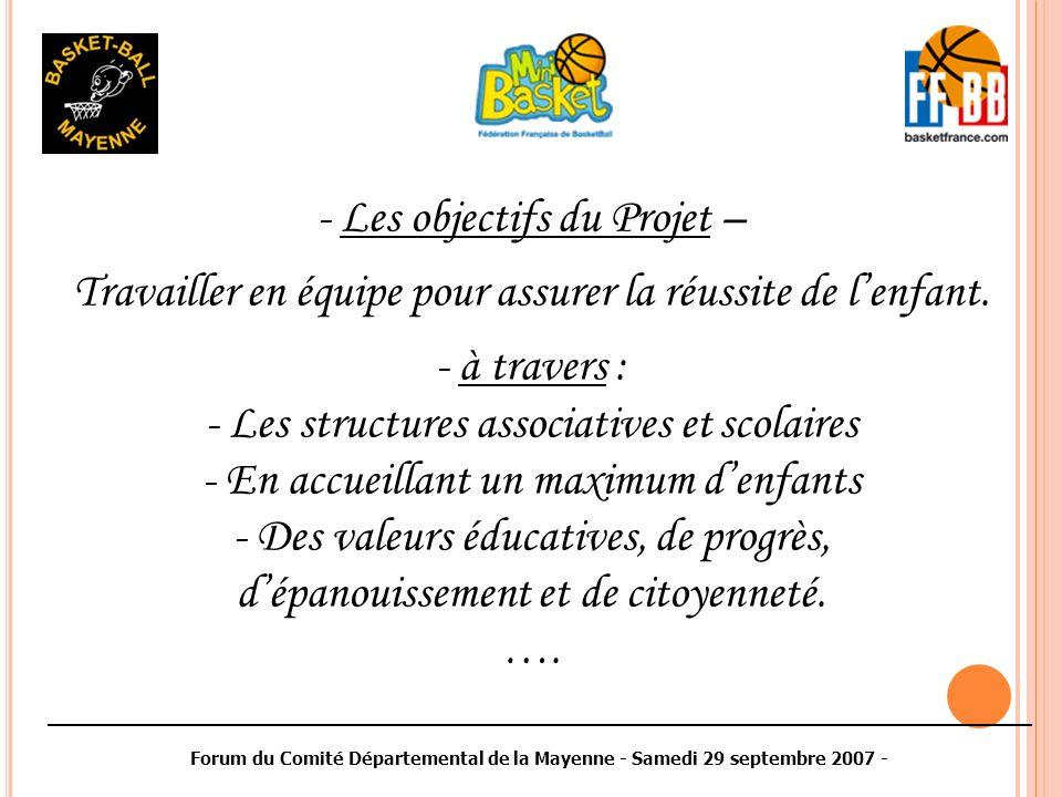 ________________________________________________________________________________________ Forum du Comité Départemental de la Mayenne - Samedi 29 septembre 2007 - - Plusieurs défis – - répondre à : - lévolution des attentes individuelles - lévolution de la société -lévolution du monde scolaire / sportif - associer : -tous les acteurs sur des objectifs communs et cohérents ….