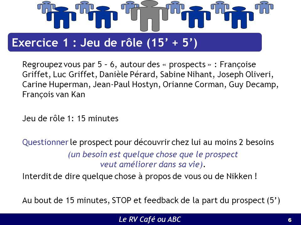 6 6 Le RV Café ou ABC Regroupez vous par 5 – 6, autour des « prospects » : Françoise Griffet, Luc Griffet, Danièle Pérard, Sabine Nihant, Joseph Olive