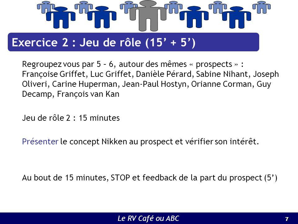 7 7 Le RV Café ou ABC Regroupez vous par 5 – 6, autour des mêmes « prospects » : Françoise Griffet, Luc Griffet, Danièle Pérard, Sabine Nihant, Joseph